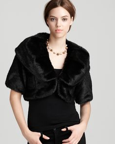Aqua Shrug   Faux Fur  Bloomingdales