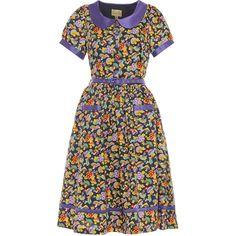 'JoJo' Navy Toadstool Print Swing Dress  -  from Lindy Bop UK