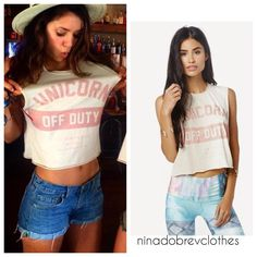 """Planet Blue-UNICORN OFF DUTY CROP MUSCLE TEE #nina #dobrev #ninadobrev"""