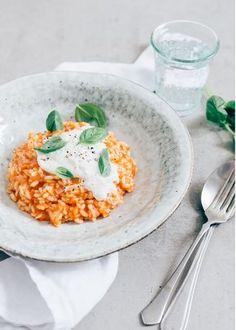 tomaten risotto met burrata. Kidsproof!