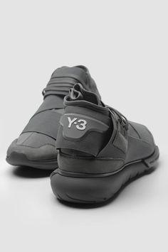 huge discount 041b1 0ac2b Y-3 Qasa High Grey Sneakers. Grey Sneakers, Leather Sneakers, Sneakers  Fashion