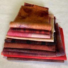 Wool Fabric, Rug Hooking, Hand Stitching, Fiber Art, Applique, Mixed Media, Burgundy, Studio, Rugs