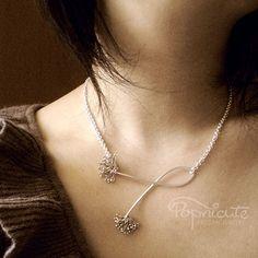Dandelion Argentium Sterling Silver Handmade 4 in 1 Necklace