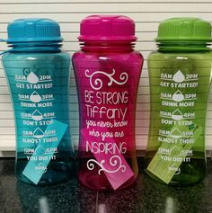 Water Intake Tracker Water Challenge Water Bottle Personalized Daily Time Schedule Fitness Workout Motivation Inspiration Pink Blue Green