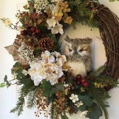 Christmas Wreath-Winter Wreath-Owl Wreath-Christmas Owl Wreath-Rustic Wreath-Evergreen Wreath Natural looking pine boughs and garden ivy create a Owl Wreaths, Wreath Crafts, Holiday Wreaths, Christmas Decorations, Wreath Ideas, Winter Wreaths, Christmas Owls, Rustic Christmas, Etsy Christmas
