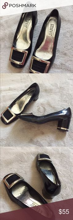 Franco sarto dress shoes Designer brand Franco sarto black shoes perfect for casual everyday office wear with skirt or pants , chic style comfortable half- one  inch heel with a pretty silver metal buckle design and silver lining on the heel . Just tried on my feet got big after pregnancy . Shoes Heels