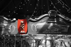 Black and white photo of the Merry-Go-Round at the Bear Mountain Inn.