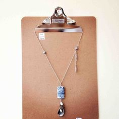 Kurve Silver and Blue Stone Pendant Necklace