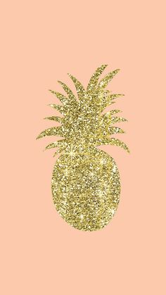 Gold Glitter PineappleIphone Wallpaper Digital by Stamplovesink