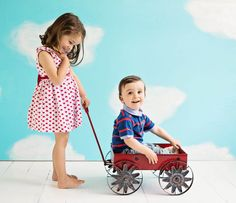 Children & Family Portrait Photography by Jo Frances Wellington - Cute photo of girl pushing boy in vintage red toy wagon, by Jo Frances Studio Photos, Photo Studio, Child Portraits, Family Portraits, Cute Photos, Girl Photos, Toy Wagon, Family Portrait Photography, Children And Family