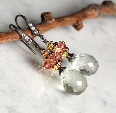 Black Friday - Cyber Monday Sale - 25% OFF entire shop    Green Quartz Pink Zircon earrings by sonhee on Etsy, $45.00
