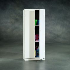 Tall Wooden Storage Cabinet Pantry Doors Shelves Kitchen Utility Closet  White