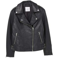 Buckles Leather Jacket (150 CHF) ❤ liked on Polyvore featuring outerwear, jackets, long sleeve jacket, lapel leather jacket, zipper leather jacket, snap jacket and buckle jackets
