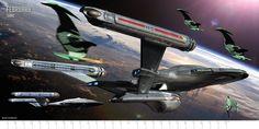 February: The Gathering Storm, by Doug Drexler The Columbia-class SS Enterprise and an original configuration NX-class ship engage four Romulan bird-of-prey.