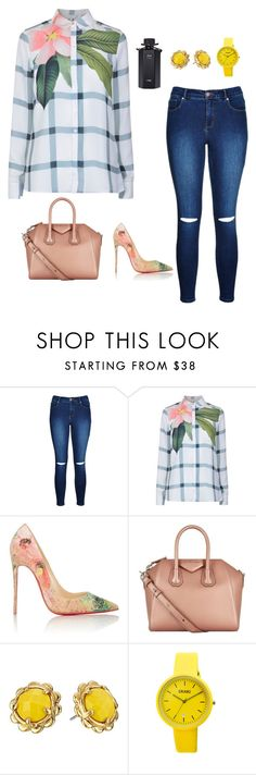"""Floral check blouse"" by matousadiya ❤ liked on Polyvore featuring Ted Baker, Christian Louboutin, Givenchy, Kate Spade, Crayo, Gucci and bluejeans"