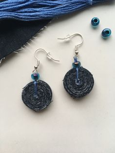Excited to share this item from my #etsy shop: Jeans recycled earrings / tassel earrings / upcycled denim earrings / sustainable accessories