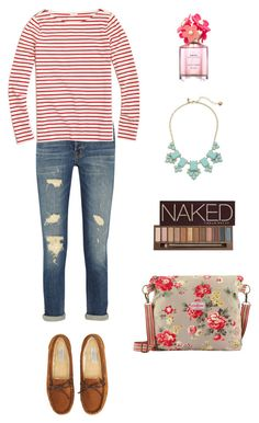 """""""Striped Spring"""" by amonikasha-1 on Polyvore featuring J Brand, J.Crew, Cath Kidston, Aéropostale, Kate Spade, Urban Decay, Marc Jacobs, women's clothing, women and female"""