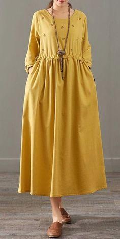 Loose Print Cotton Linen Maxi Dresses Women Casual Clothes 1387 - new site Simple Dresses, Casual Dresses For Women, Casual Outfits, Clothes For Women, Casual Clothes, Awesome Dresses, Linen Dresses, Women's Dresses, Fashion Dresses