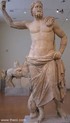 Poseidon of Melos. Poseidon holding trident (missing), with dolphin at his feet.. Marble. National Archaeological Museum, Athens