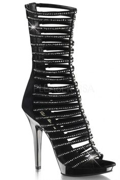 c4bf6b2579fe Calf high strappy sandal featuring rhinestone embellished straps and back  zipper closure. 5 inch heels