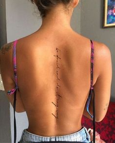 Girl Spine Tattoos, Finger Tattoos, Body Tattoos, Hand Tattoos, Rib Quote Tattoos, Spine Tattoo Placements, Back Tattoo Quotes, Classy Tattoos, Dainty Tattoos