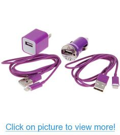 Mini 4 in 1 Charger Kit (Us Plug USB Power Adapter+ Car Charger + 2pcs 1m USB Cable) for Iphone 5 (Purple) #Mini #Charger #Kit #Us #Plug #USB #Power #Adapter+ #Car #2pcs #1m #Cable #Iphone #Purple