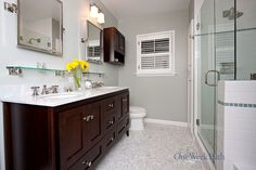 Transitional Bathroom Design With Marble Countertops
