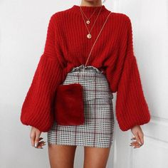 Festive red and balloon sleeves this little checked skirt is @rebelliousfashion use code LR20