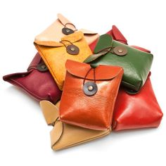 Upcycled leather pouch made from vintage leather sofas