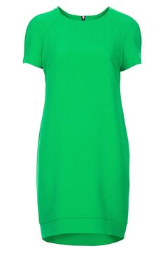 Topshop Green Crepe Shift Dress