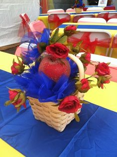 Easy DIY Snow White Party Center Pieces Apple Roses Blue Tulle