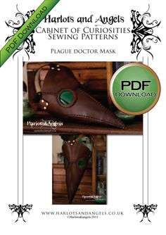 plague doctor mask pdf instant download pattern. for hand cutting or laser cutting