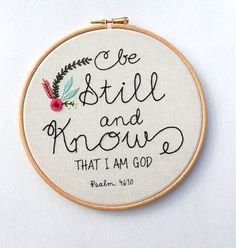 Hand  Stitched Bible Verse Be Still and Know by RedWorkStitches