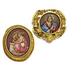 Two gold and micromosaic brooches, last quarter 19th century