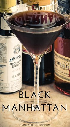 The Black Manhattan sticks pretty close to the original Manhattan formula, substituting an amaro (Averna) for the usual sweet vermouth. The resulting flavor is quite unlike the standard Manhattan—less whiskey-driven, more bitter and earthy, and much more herbal. The name comes from the very dark coloration of the Averna.