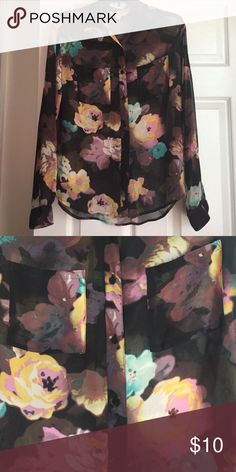 Flowery Blouse Sheer black blouse with pink yellow and blue flowers Decree Tops
