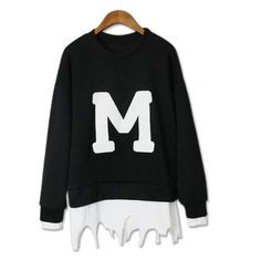Street Style Sweatshirts Women Fashion Tops Casual Sweatshirt made with Acetate,Cotton Patchwork