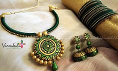 Terracotta Jewelry Silk Thread Jewelry Set GREEN & by Varnakala