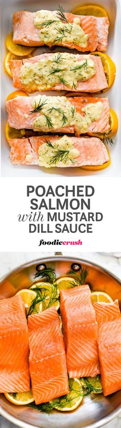Poached in a lemon and herb flavored bath of white wine and water, this gently steamed salmon is ready for eating in just 15 minutes or less. Save the poaching liquid and add Dijon mustard, sour cream, and a few pats of butter for the a sauce every one will love | http://foodiecrush.com #salmon #poachedsalmon
