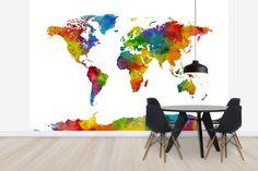 Watercolor World Map Multicolor 2 -             Wall Mural & Photo Wallpaper -           Photowall