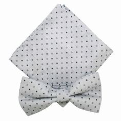 Silver With Fine Squares Bow Tie And Pocket Square Set