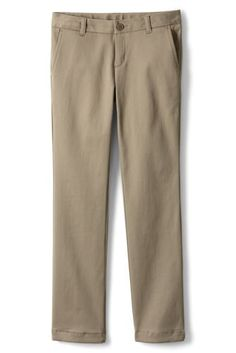 Girls+Stretch+Plain+Front+Chino+Pant+from+Lands'+End
