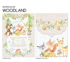 Invitation Cards, Invitations, Card Envelopes, Woodland, Watercolor, Art, Art Background, Watercolour, Watercolor Painting