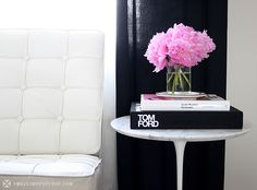 My Apartment  pink flowers grey white chair