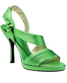 These Grass Green Satin Sandals Manage To Be Both Sweet And Sassy. The  Perfect Wedding Shoes ...