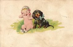 Dachshund Dackel teckel smiling with crying baby cute old artist pistcard
