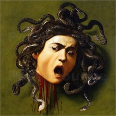 Medusa by Caravaggio. Caravaggio painted two versions of Medusa, the first in 1596 and the other presumably in Medusa Kunst, Medusa Art, Medusa Tattoo, Caravaggio, Medusa Painting, Baroque Painting, Claude Monet, Michelangelo, Carravagio Paintings