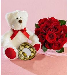Make All The Love, And All The Good Feelings Rise Up. Express All Those Beautiful Feelings With This Great Gift Combination. 12 Premium Roses Bouquet, With A Delicious Heart Shaped Chocolate Box And/Or A Tender Medium Size Teddy Bear Approximately 70 X 40 Cm. Teddy Bear Online, Buy Teddy Bear, Heart Shaped Chocolate Box, Animal Delivery, 12 Roses, Chocolate Hampers, Cute Stuffed Animals, Balloon Bouquet, Rose Bouquet
