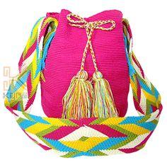 Mochila Wayuu unicolor Fuccia