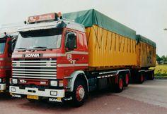 Scania R 113 H 6x2 met wissel container aanhanger van Boonstra te Haulerwijk